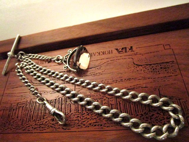 英国アンティーク グラジュエート ロング チェーン 回転式 スモーキークオーツ スピナーフォブ  シルバー 懐中時計 イギリス