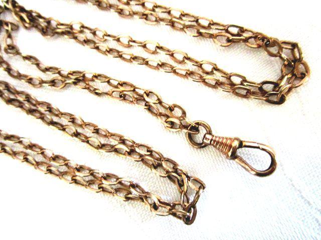英国アンティーク MUFF/マフ チェーン/ガード/ウォッチ ロングチェーン 3連ネックレス 131cm Rolled Gold