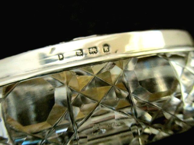 英国アンティーク グラス シルバートリンケットBOX ジュエリー ホブネイルカット ガラスケース 楕円 純銀バーミンガム エドワード期1906年