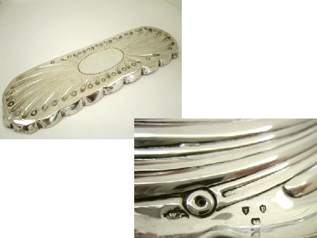 英国アンティーク シルバートレイ 長方形 オーバル型 純銀 76g ロンドン ビクトリア期 1890年 純銀 WC社