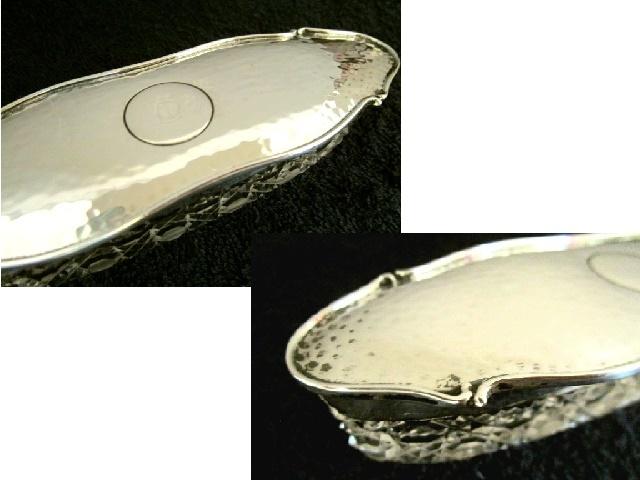 英国アンティーク グラス シルバー トリンケットBOX ジュエリー ホブネイルカット ガラスケース 楕円 純銀バーミンガム エドワード期1908年