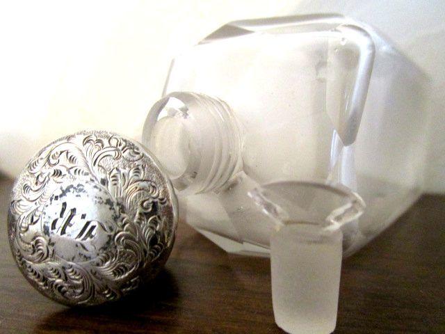英国アンティーク シルバー グラス 香水瓶 パーフューム Scent Bottle ガラス 158g 純銀 ビクトリア初期 バーミンガム 1846年HM社製