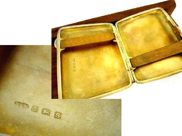英国アンティーク シルバー シガレットケース 煙草 純銀 71.6g 両面彫金 唐草模様 バーミンガム ジョージ6世 1942年 RN社
