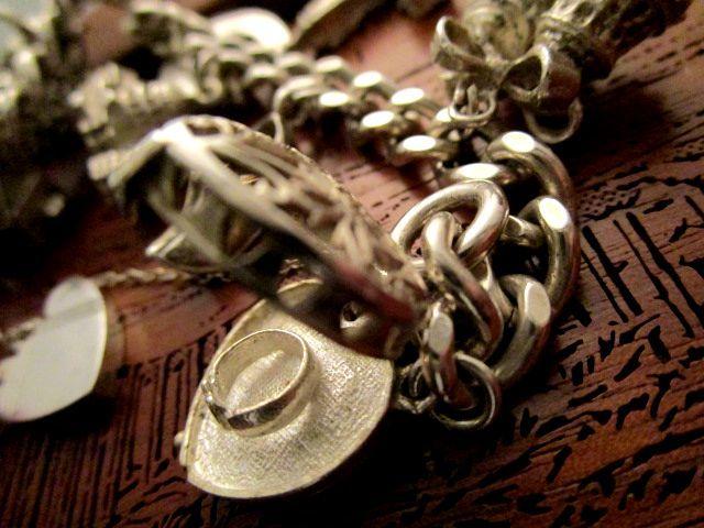 英国ビンテージ シルバー925 ブレスレット 鍵付き チェーン チャーム12個63g 純銀 イギリス シェフィールド1978年HC&社製