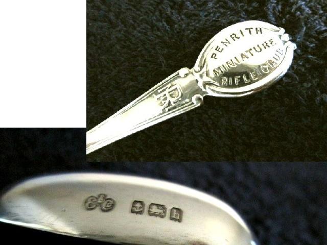 英国アンティーク シルバーカトラリー デザートスプーン 薔薇 シスル クローバー ソルジャー純銀28g エドワード期バーミンガム1907年E&C社