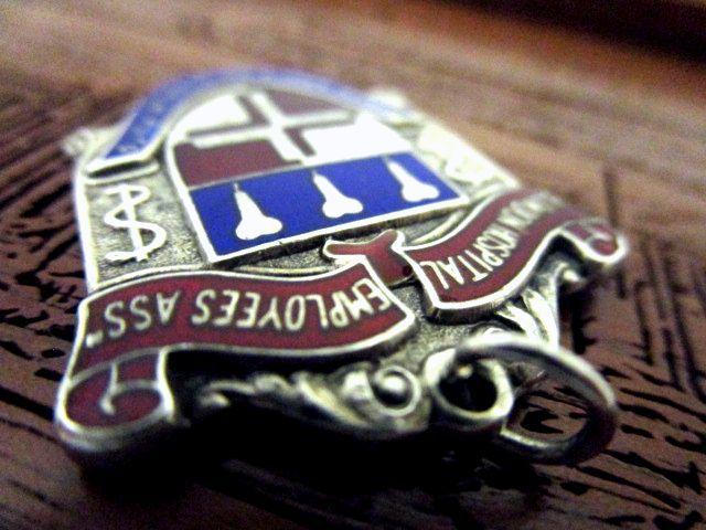 英国アンティーク フォブ ペンダント エナメル エンブレム型 懐中時計 チェーン 純銀 ジョージ5世 バーミンガム1930年 ACE社製