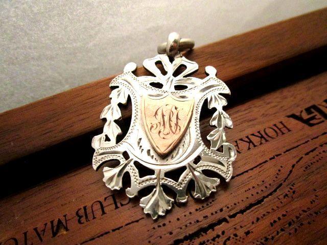 英国アンティークチェーン シルバー&ゴールドフォブ懐中時計 純銀 透かし細工 ビクトリア期1876年 イギリス バーミンガムH・P社製