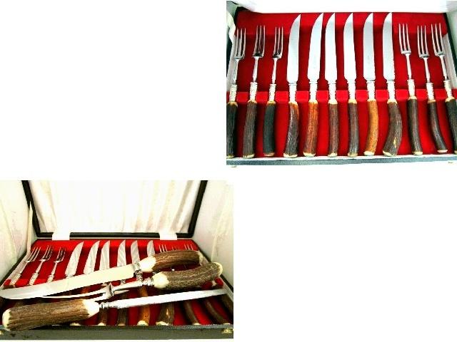 英国ビンテージ シルバーp&ホーン/角 ステーキナイフ&フォーク 6人用シャープナー計15本カトラリーセット シェフィールド元箱×2