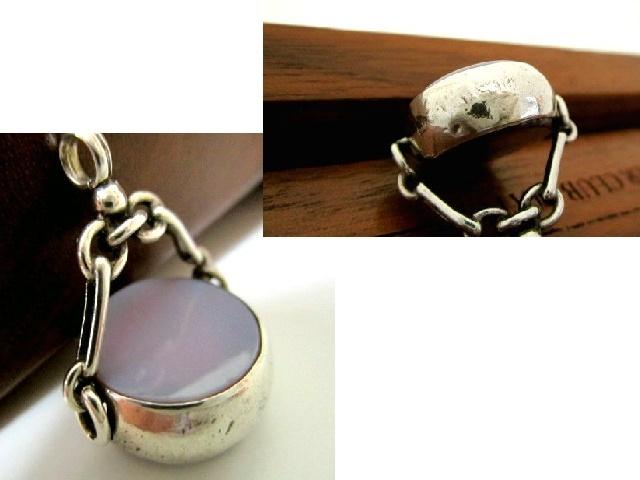 英国アンティーク 2色石付 回転式 シールフォブ 懐中時計チェーン 純銀 AGATE/カーネリアン 紫陽花色 ビクトリア期 バーミンガム1890s