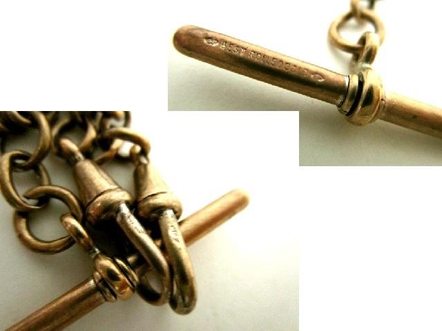 英国アンティーク R.GOLDゴールド ダブルアルバートチェーン ネックレス懐中時計34gビクトリアンアールヌーヴォー鍵&石付シールフォブ1880s