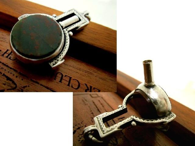英国アンティーク 2色石付 回転式 鍵巻 キー&シールフォブ 懐中時計 チェーン 純銀 ビクトリア期 バーミンガム1890s