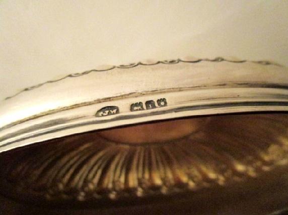 英国 アンティーク シルバーグラス ジャー オーバル 小物入れ 純銀 エドワード期 ロンドン 1915年