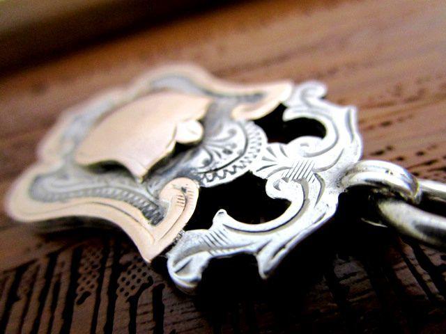 英国アンティーク ロングチェーン ROSE GOLD フォブ 53g 37cm 純銀 懐中時計 ジョージ5世 バーミンガム1921年HB&S社製