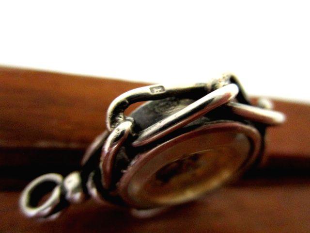 英国アンティーク コンパスフォブ 方位磁石 両面装飾 純銀 7.8g 懐中時計 シルバー 懐中時計チェーン