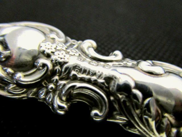 英国アンティーク シルバー 靴べら 小型 シューホーン 純銀ハンドル ART NOUVEAU 小道具 エドワード期バーミンガム1902年A&LL社製
