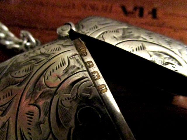 英国 アンティーク ダブルチェーン&ヴェスタ/唐草模様マッチ箱 純銀 エドワード期 バーミンガム1910年 懐中時計