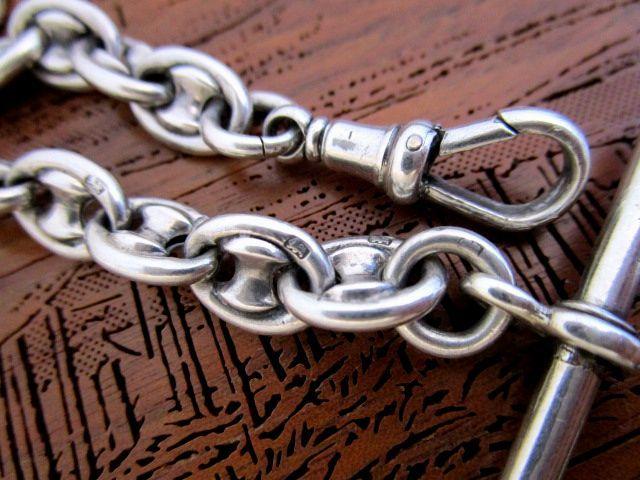英国アンティーク シルバー チェーン 装飾リンク 懐中時計 32g 純銀 イギリス1900年代 HP社製