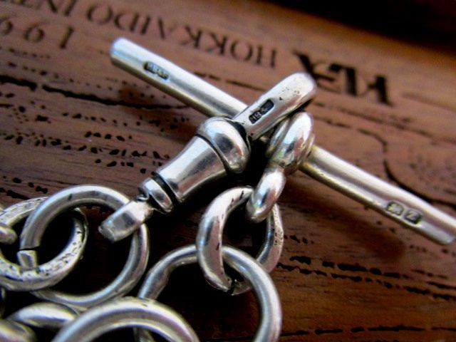 英国アンティーク シルバーダブルチェーン 3面回転式フォブ アゲート石 純銀 懐中時計ジョージ5世バーミンガム1924年HB&S社製全刻印