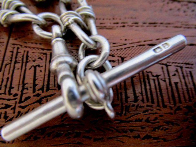 英国アンティーク シルバー チェーン 装飾リンク 懐中時計 25g 純銀 イギリス ビクトリア期1899年 L.BROS社製