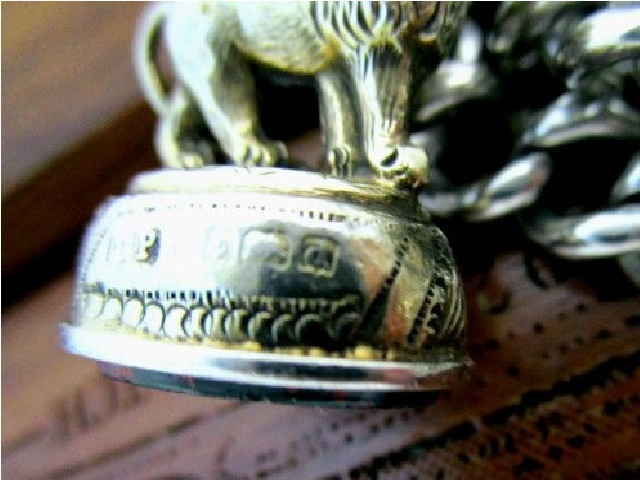 英国アンティーク 金彩 ライオン シール フォブ チェーン 石付き 懐中時計 純銀 極太73g エドワード期バーミンガム1903年JC社