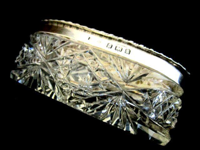 英国アンティーク グラス シルバー トリンケットBOX ホブネイルカット ガラスケース 純銀 エドワード期1905年AWP社製