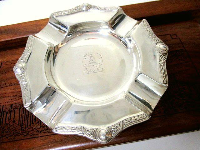 英国ビンテージ シルバーシガーアッシュトレイ ケルトノット 葉巻 煙草 灰皿 純銀 39g イギリス雑貨 バーミンガム1958年