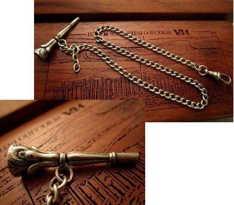 英国 アンティーク シルバー ロング チェーン 鍵付シールフォブ シトリン石 純銀 懐中時計ビクトリアン1849年