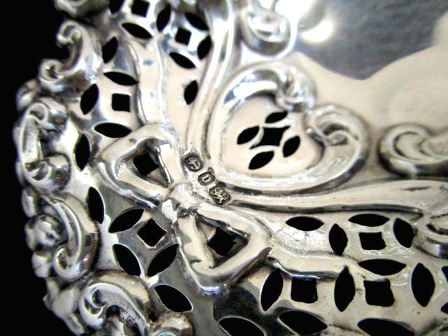 英国アンティーク シルバー ボンボン/トリンケット ディッシュ/小皿2点 透かし オーバル リボン 純銀ビクトリア期1895年C.C社