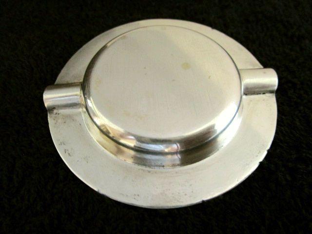 英国 ビンテージ シルバーアッシュトレイ 小皿 灰皿 純銀 喫煙小道具 草花装飾 イギリス雑貨 バーミンガム1971年JR社製