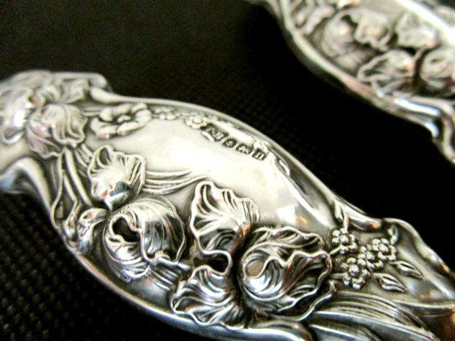 英国アンティーク シルバーカーリングトング ART NOUVEAU 両面装飾 純銀102g バーミンガム ジョージ5世 1912年TB社製イギリス雑貨