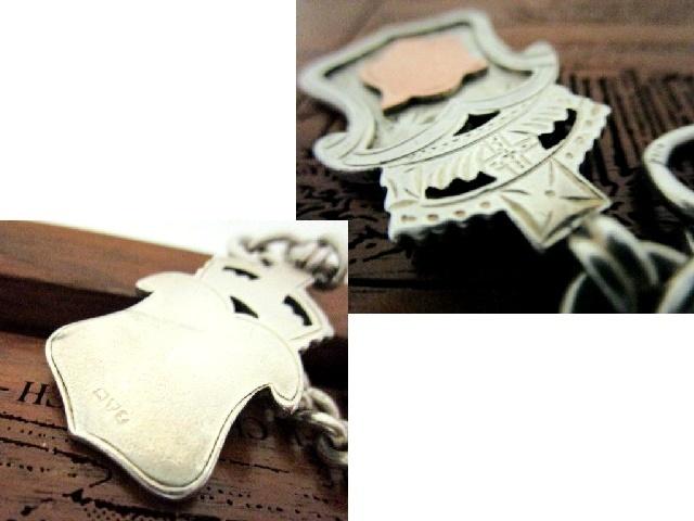 英国アンティーク シルバーロングチェーン ROSE GOLD フォブ ネックレス 純銀 64g 44cm 懐中時計 エドワード期1902年