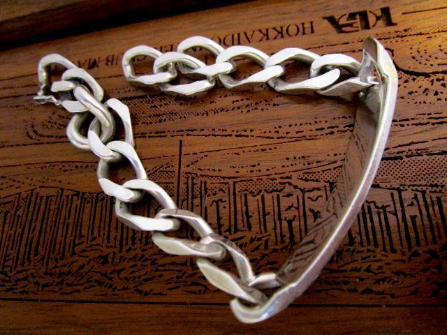 207-3英国 ビンテージ シルバー925 ID ブレスレット チェーン 26.7g 19.5cm 純銀 イギリス バーミンガム1981年 JV社製