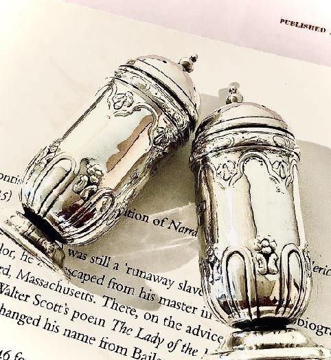 英国アンティーク シルバー ソルト&ペッパー カトラリー2点 純銀 1902-3年 Deakin&Francis/ディーキン&フランシス