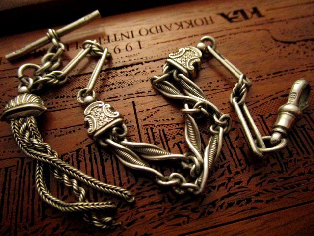 英国 アンティーク 稀少ツイストリンク チェーン タッセル フォブ 懐中時計 純銀 ビクトリア期バーミンガム1899年H.B社製