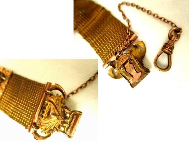 米国アンティーク 徽章型 メッシュ ゴールドp懐中時計/金張り クリップ アメジスト 石付 シールフォブ チェーン THE DFB Co