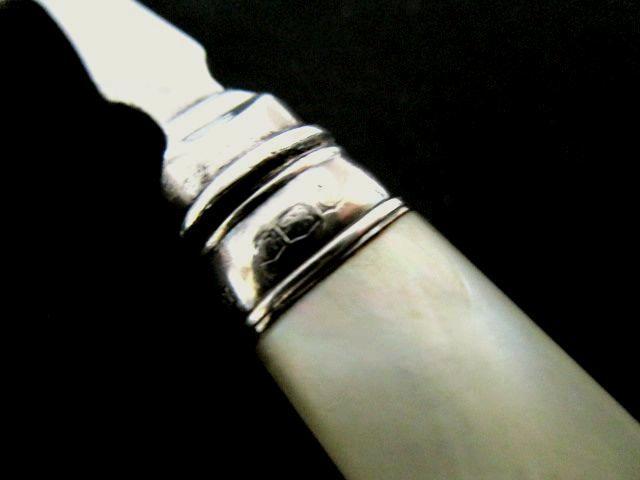 英国アンティーク シルバー ベリー/ジャムスプーン 純銀 白蝶貝 マザーオブパール カトラリー シェフィ—ルド1918年JD&WD社製