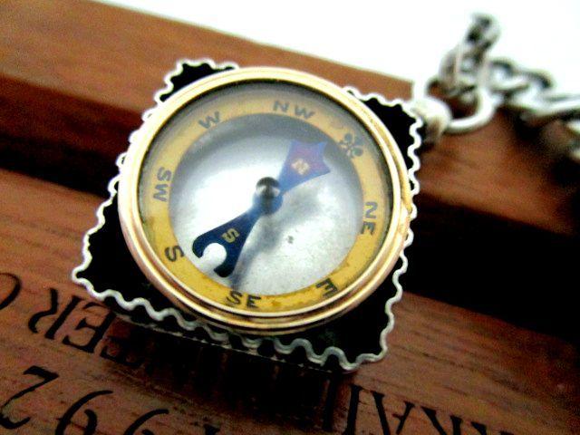 英国アンティーク 草花装飾 コンパスフォブ 方位磁石 両面装飾 純銀47g 懐中時計シルバーチェーン ビクトリア期1898年HP社製
