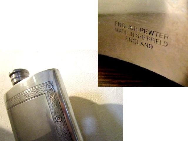 英国ビンテージ スキットル ウイスキー ヒップフラスク ピューター ケルトノット 7.5OZ 220ml 箱付 シェフィールド TIMPSON