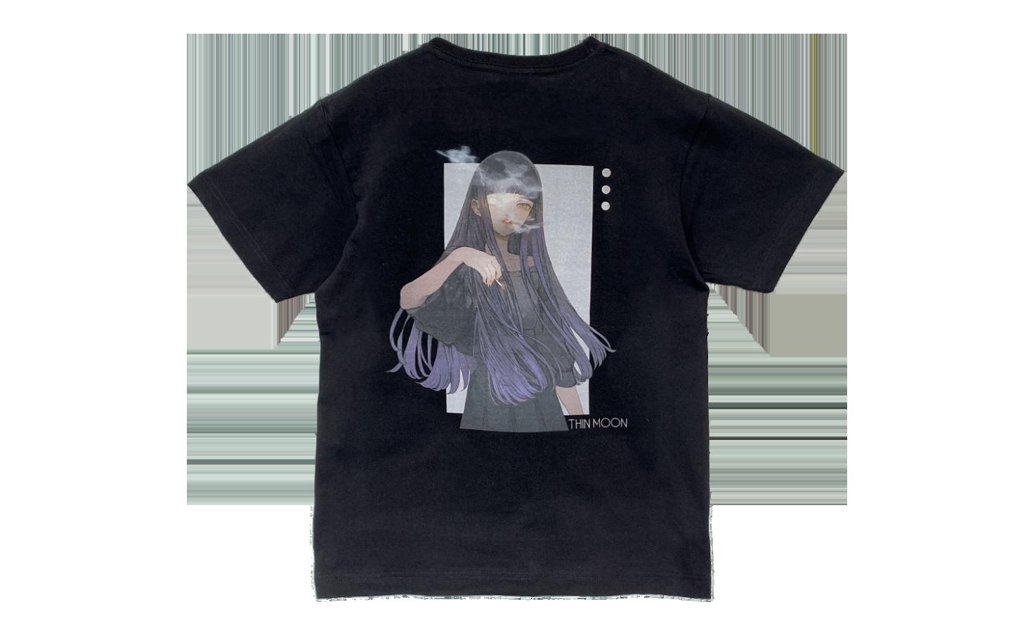 Tシャツ_THIN MOON_B(Black)