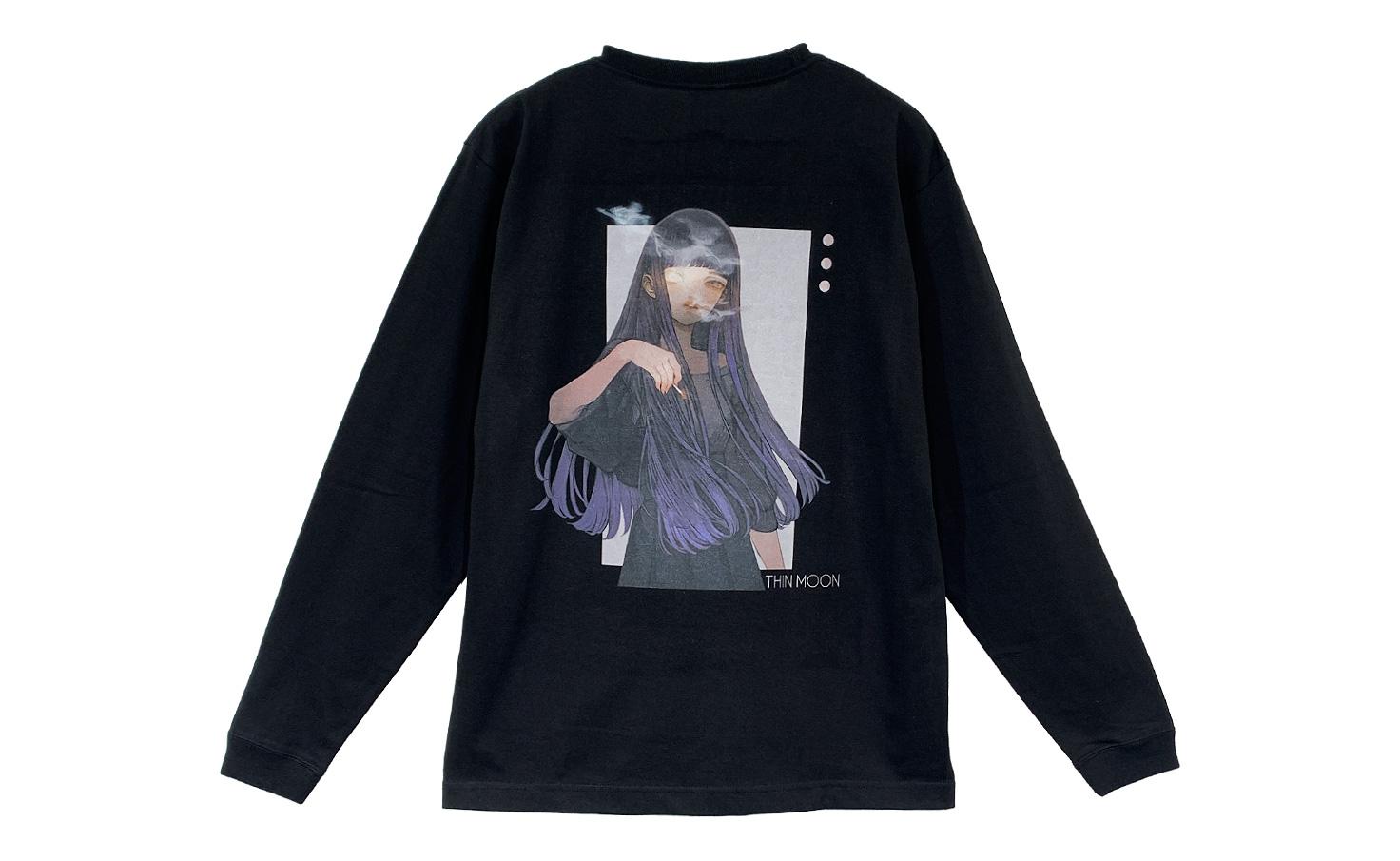 ロングTシャツ_THIN MOON_B(Black)
