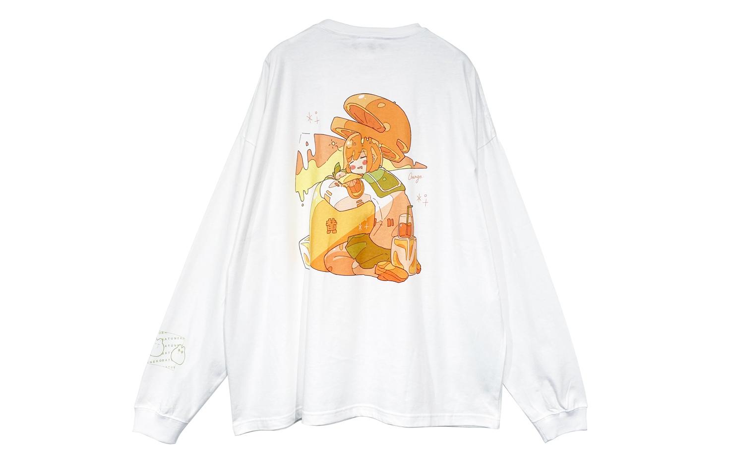 飲み物系女子_オレンジ_ロングTシャツ