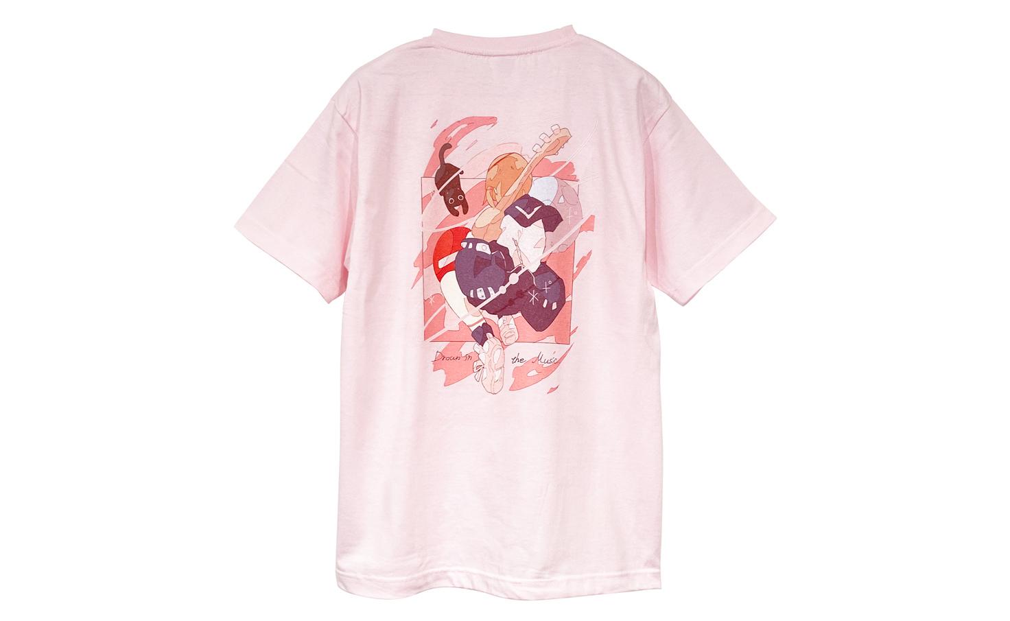 音楽に溺れる_Pink_Tシャツ