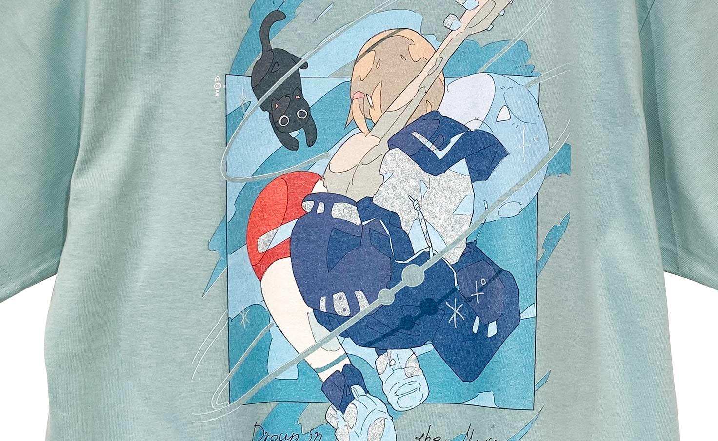 音楽に溺れる_Blue_Tシャツ