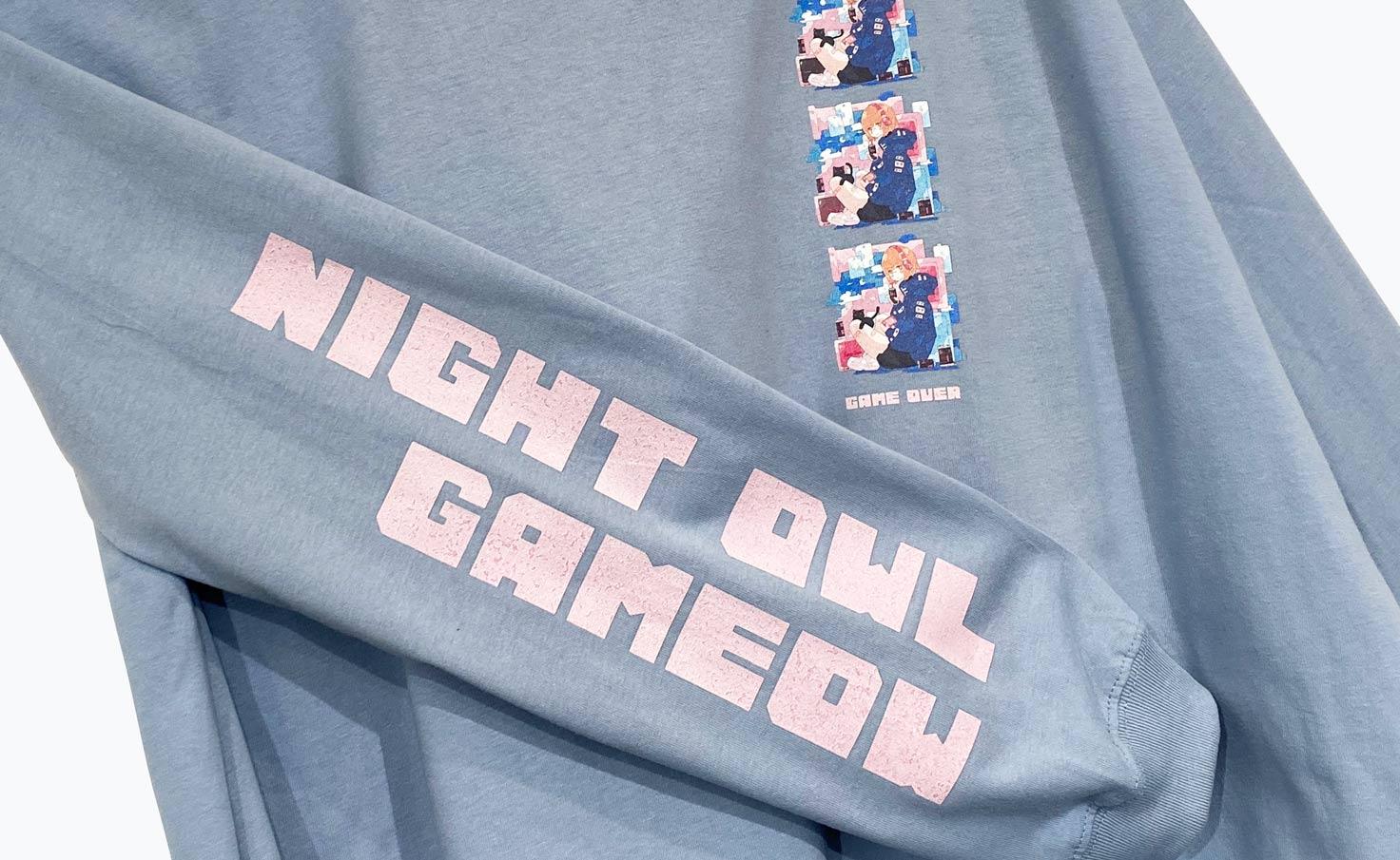 夜更かしゲーミャー_Blue_ロングTシャツ