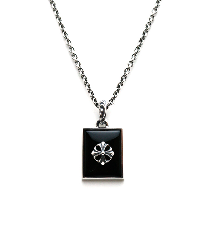 Square Onyx Necklace/ Cross01