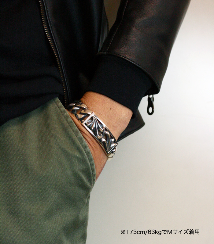 ArgentGleam Classic FLORAL ID BRACELET / Wide