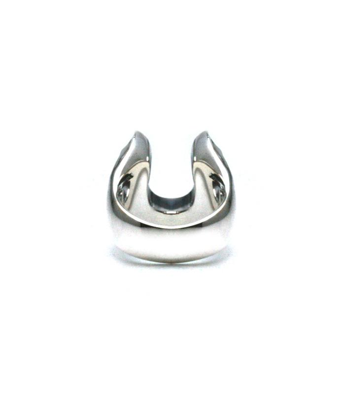WHITE CZ SMALL HORSESHOE RING