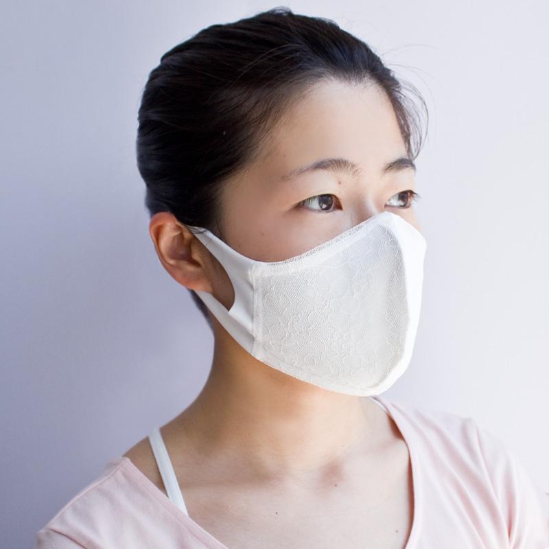 おしゃれ布マスク (レース)【日本製】 UVカット