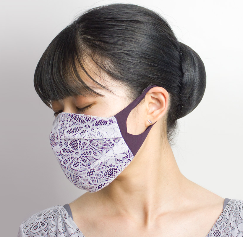 おしゃれ布マスク03 (レース)【日本製】 UVカット