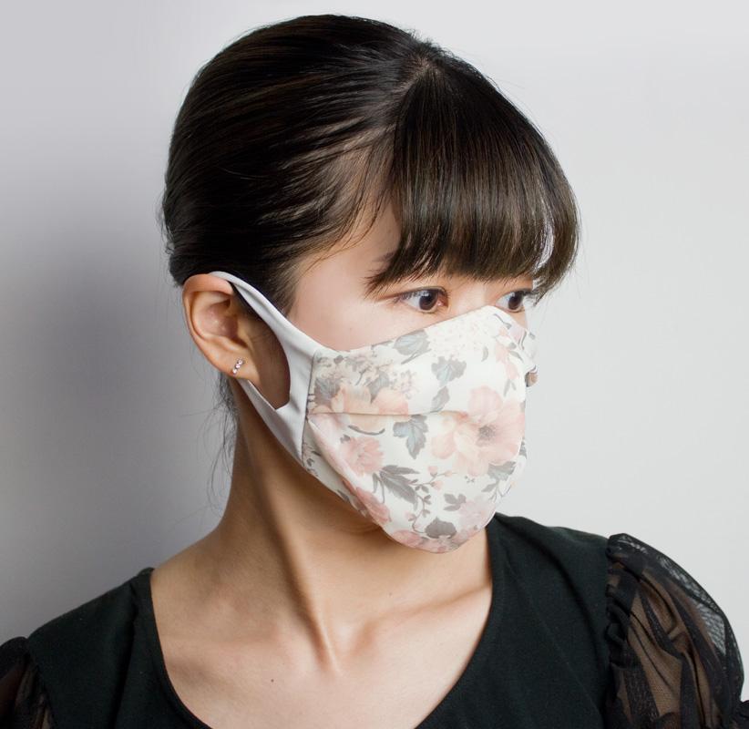 おしゃれ布マスク04 (プリントシフォン)【日本製】 UVカット